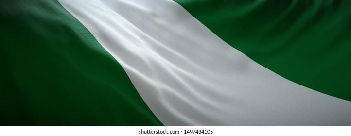 Official flag of Nigeria. Nigerian web banner.