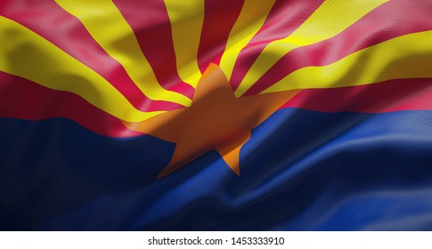 Official flag of the state of Arizona. United States of America.
