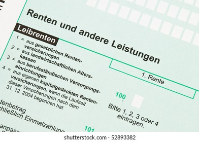 Official German tax form for the tax year 2009, annuity tax