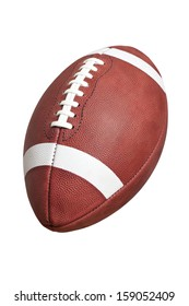 An official, leather college style football isolated on a white background