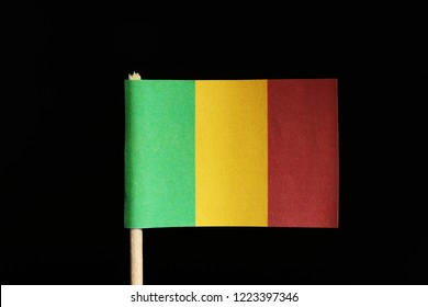 A official and original flag of Mali on toothpick on black background. Consists of a vertical tricolour of green, gold and red