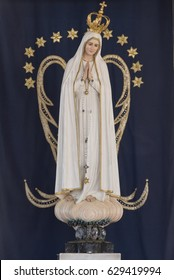 The official statue of Our Lady of Fatima resting in its nest on the Chapel of Apparitions, in Fatima, Portugal