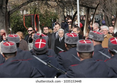 Officials, military personal and common people take part in celebration for National day of Bulgaria -  the Liberation Day on monument of Unknown warrior in Sofia, Bulgaria - on March 3, 2010