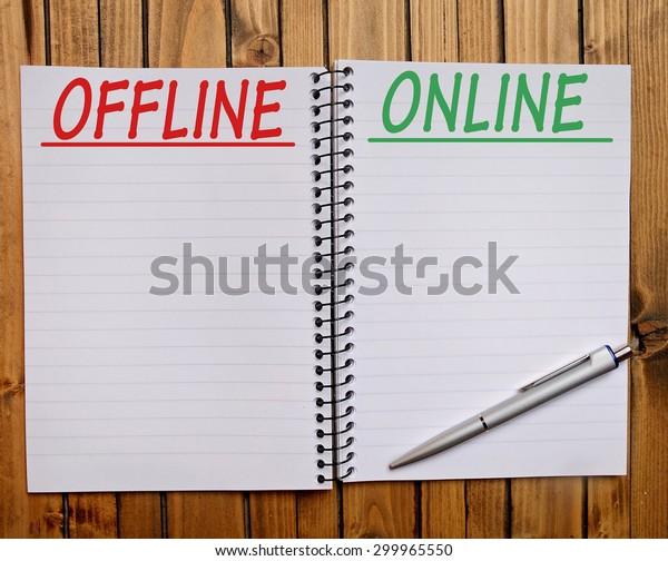 Offline Online word on notepad