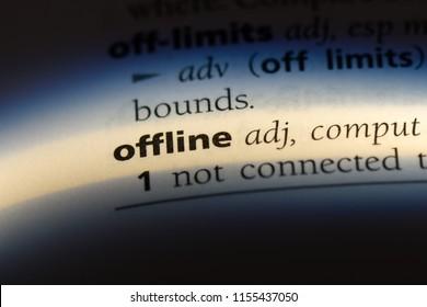 offline word in a dictionary. offline concept.