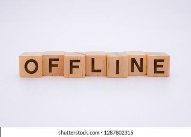 Offline Word Written In Wooden Cube