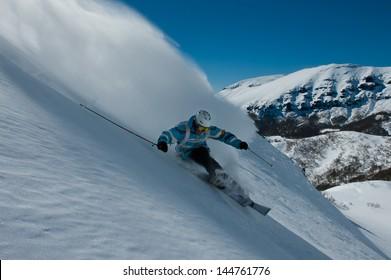 Off-piste skiing in Chapelco, San Martin de los Andes, Argentina.