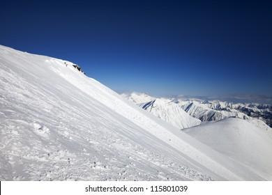 Off-piste slope. Caucasus Mountains, Georgia, ski resort Gudauri.