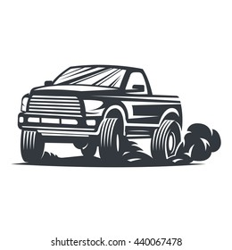 Off-road car logo, emblem, badge, icon illustration on white background. Raster copy of vector file.