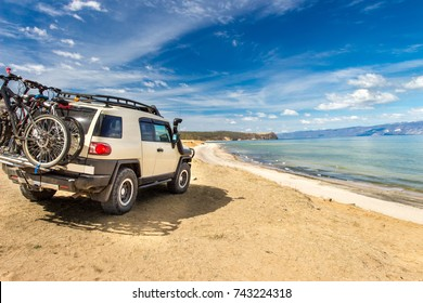 Off-road car on the sea coast