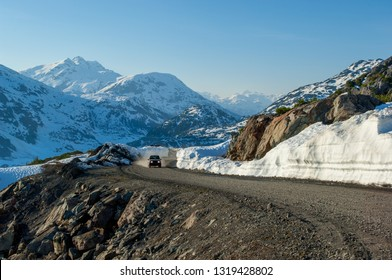 Offroad driving by Boundary Ranges near Salmon glacier between British Columbia and Alaska