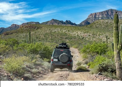 offroad driving in Mexico baja california landscape beautiful colors panorama desert road