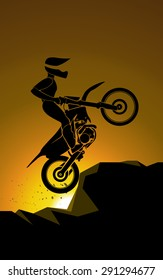 Off-road jump in mountain, motocross background