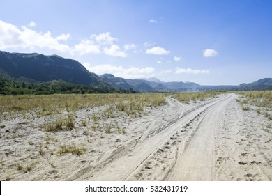 off-road route to mount pinatubo in pampanga in the philippines sandy dirt road leading down crow valley to the volcano