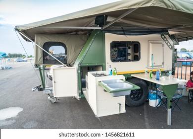 Off-Road Style Caravan, holiday trip in motor-home, Caravan vacation, towing trailer