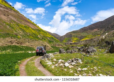 Offroad vehicle on a dirt road in the venezuelan Andes mountains
