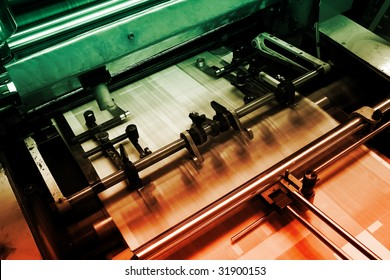 Offset press machine in printing house