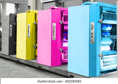 Offset Printing machine, CMYK concept
