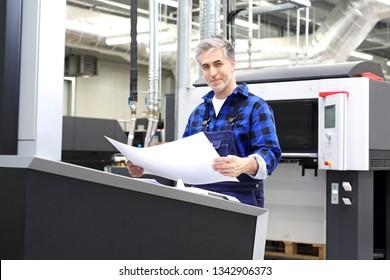 Offset printing. The printer checks the printout