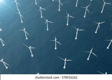 Offshore aerial view of wind turbines in the sea. Clean energy, ecological concept.,3d rendering