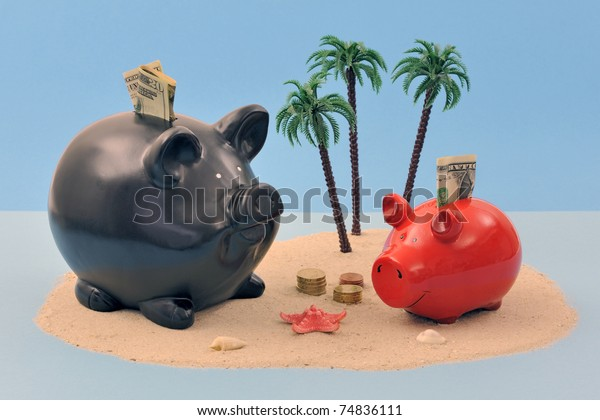 Offshore banking concept with piggy bank, coins and banknotes on sand island and palm trees
