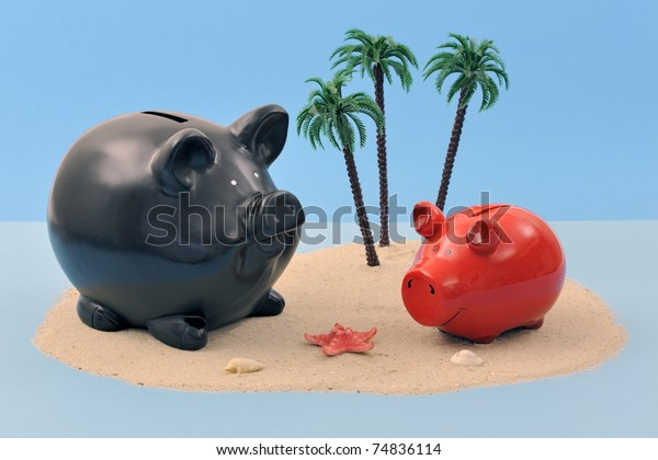 Offshore banking concept with piggy bank on sand island and palm trees