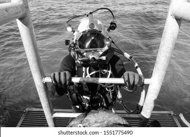 Offshore Commercial Diver with a Hard Hat