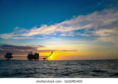 Offshore construction platform for production oil and gas. Oil and gas industry and hard work. Production platform and operation process by manual and auto function from control room.