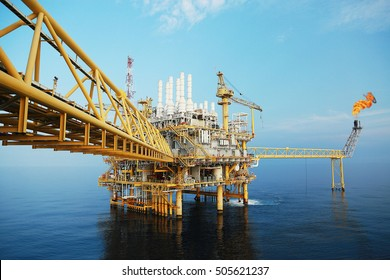 Offshore construction platform for production oil and gas. Oil and gas industry and hard work. Production platform and operation process by manual and auto function.oil and rig industry and operation.