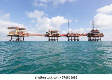 Offshore construction platform for production oil and gas, Oil and gas industry and hard work, Production platform and operation process