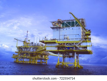 Offshore construction platform for production oil and gas, Oil and gas industry and hard work, Production platform and operation process by manual and auto function