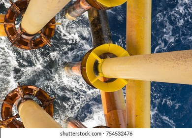 Offshore drill yellow oil and gas production petroleum pipeline.