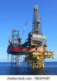 Offshore drilling rig on oil well production platform in offshore oil field