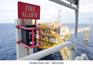 Offshore fire alarm station on the oil and gas platform