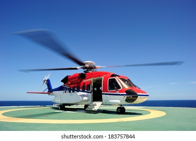 The offshore helicopter at the oil platform