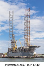 Offshore Jack Up Drilling Rig in the harbour