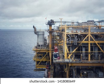 Offshore living quarter or Offshore rig platform or Offshore oil and gas Accommodation Platform or Living Quarter and Production plant with a calm sea with weather radar and gang way and Thailand flag