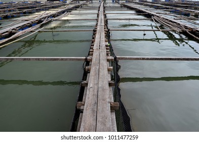 Offshore ocean open water fish farm in west Malaysia