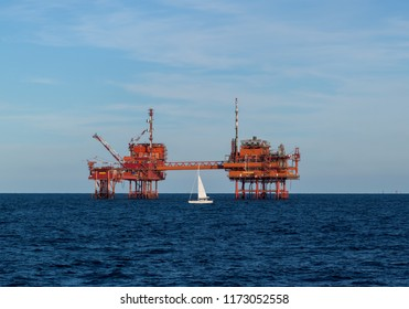 Offshore oil drill platform at sea.