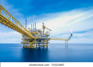 Offshore oil and gas business, Long exposure of gases and crude oil central processing platform where is produce and treat hydrocarbon before sent to onshore refinery and petrochemical factory.