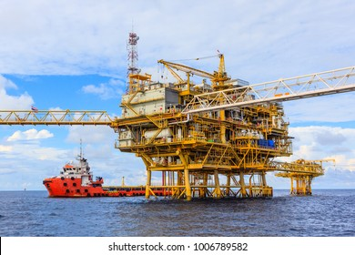 Offshore oil and Gas central processing platform and remote platform produced oil, natural gas and liquid condensate for set to onshore refinery from offshore in ocean sea and along with supply boat.