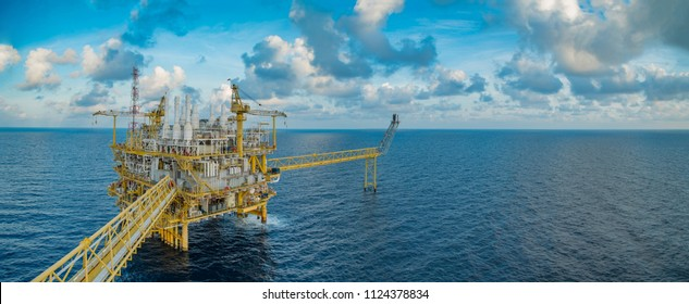 Offshore oil and gas central processing platform where produced raw gases and crude for sent to onshore refinery, petroleum and power generation plant.