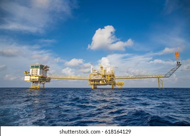 Offshore oil and gas central processing platform and accommodation, flare and remote platform where located in the gulf of Thailand produced raw gases and sent to onshore refinery.