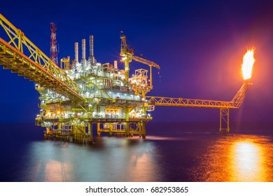 Offshore oil and gas central processing platform produced crude oil and natural gas for sent to onshore refinery, Power and energy business.