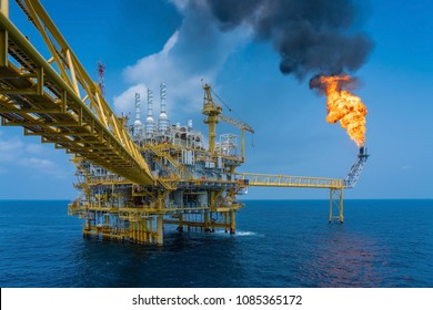Offshore oil and gas construction platform while vent gases to flare platform to prevent over pressure from process upset, Power and energy business industry.