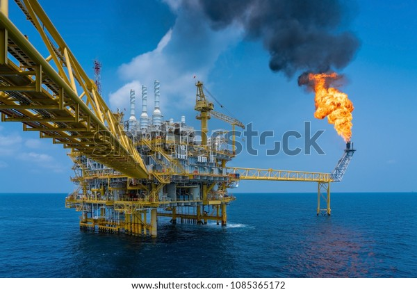 Offshore Oil Gas Construction Platform While Stock Photo (Edit Now