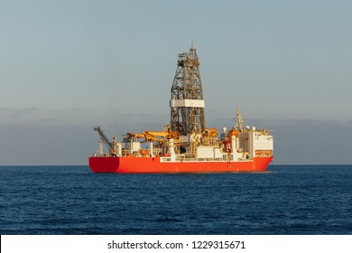 offshore oil and gas drillship in the open sea