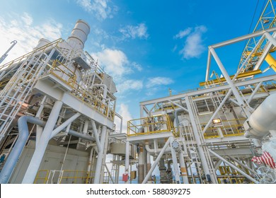 Offshore oil and gas industry, gas compression systems and waste heat recovery unit of gas turbine engine exhaust stack and liquid knock out vessel.