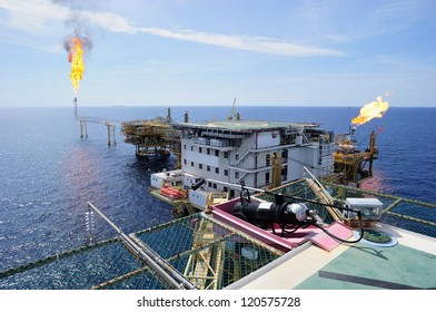 An offshore oil and gas platform