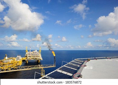 An offshore oil and gas platform in the Gulf of Thailand